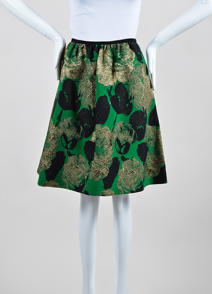 "Green, Gold, and Black Erdem Floral Jacquard ""Kitty"" A-Line Skirt Frontview"