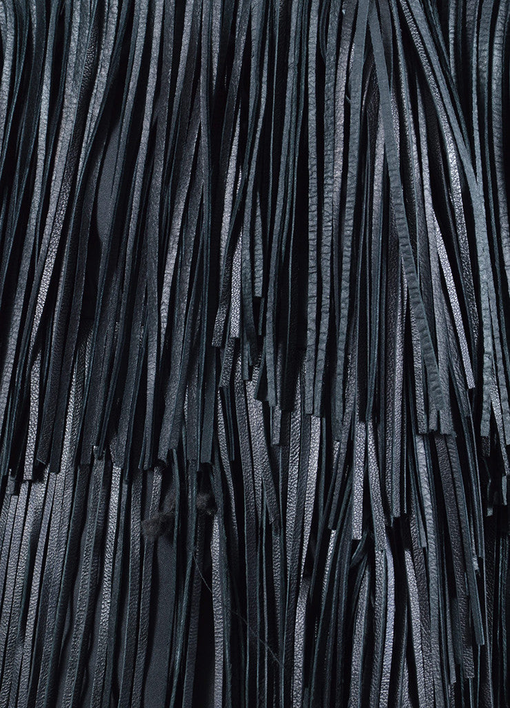 Black Ermanno Scervino Leather Fringe Down Coat Detail