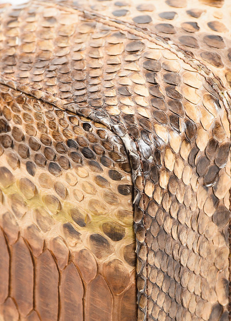 Brown and Beige Fendi Python Leather Box Bag Detail