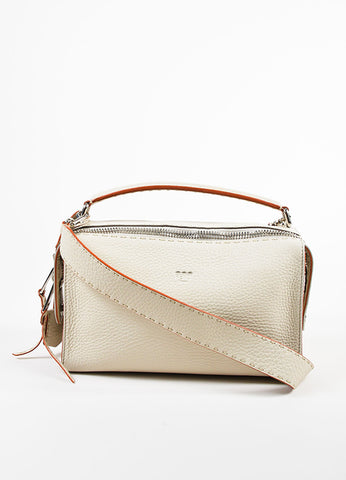 "Fendi Cream Leather Red Trim Double Silver Toned Zipper ""Lei Selleria"" Bag Frontview"