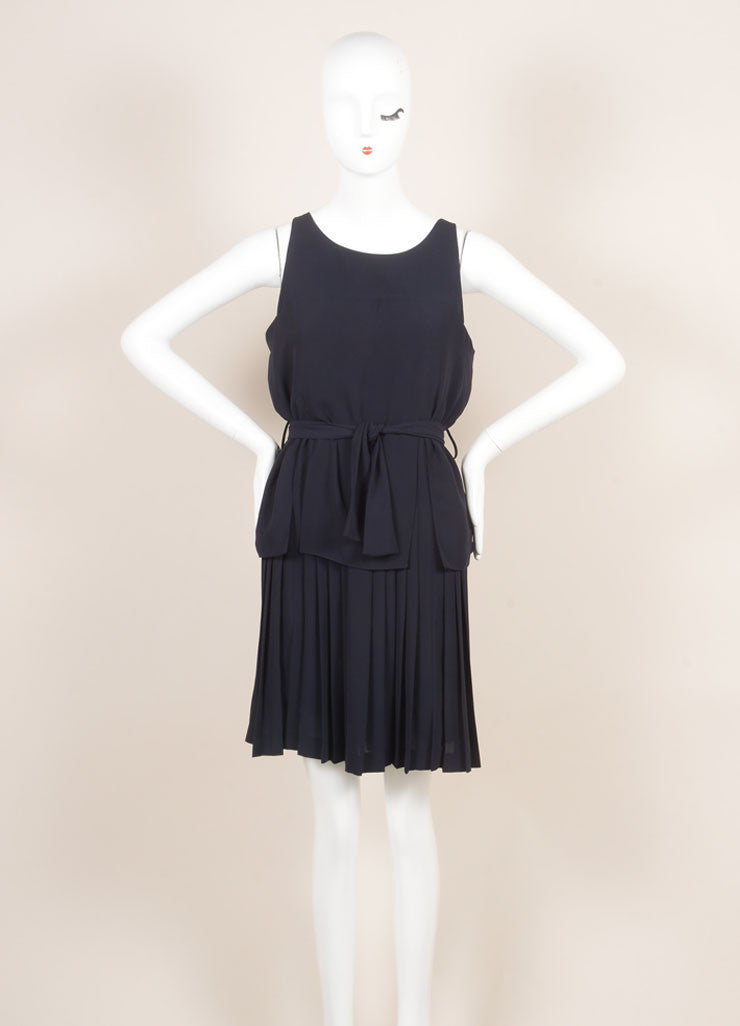 Fendi Navy Blue Layered Pleated Belted Sleeveless Dress Frontview