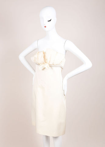 Giambattista Valli Cream Wool and Silk Blend Pleated Chain Embellished Dress Sideview