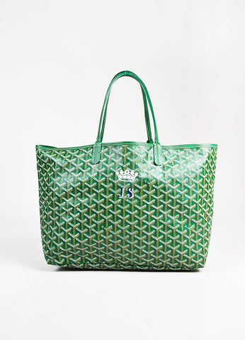 "Goyard Green White ""Goyardine"" Coated Canvas ""St. Louis PM"" Crown Tote Bag front"