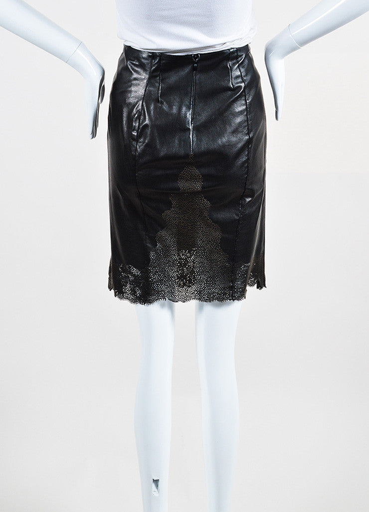 Gucci Black Perforated Leather Scalloped Hem Pencil Skirt Backview