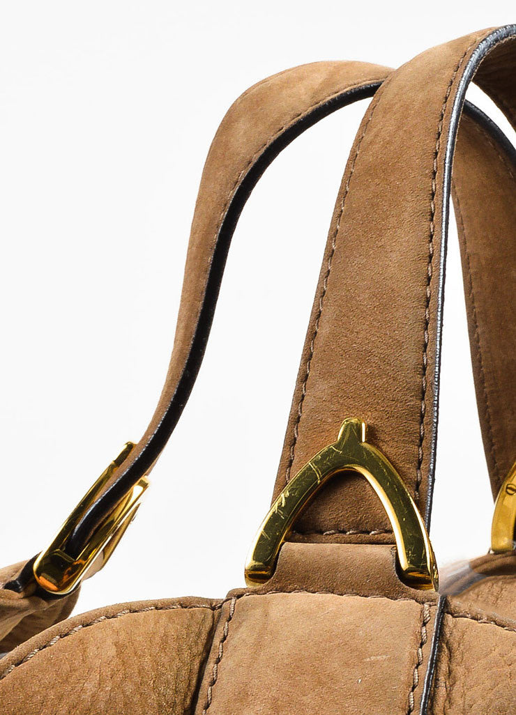 "Gucci Tan Leather ""Soft Stirrup"" Large Hobo Bag Detail 2"