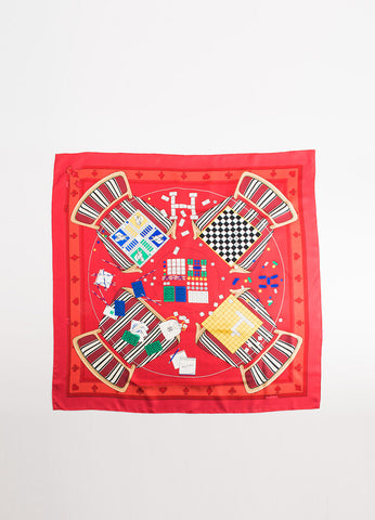 "Hermes Red Silk Twill ""Faites Vos Jeux"" Dice Board Game Print 90cm Scarf Frontview"