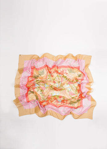 "Hermes Tan and Red Silk ""Early America"" Abstract Animal Print 140cm Sheer Scarf Frontview"