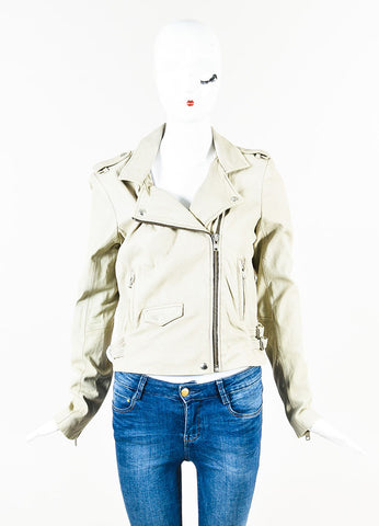 "IRO Beige Leather SHW Motorcycle ""Asheville"" Zip Up Jacket  Frontview"