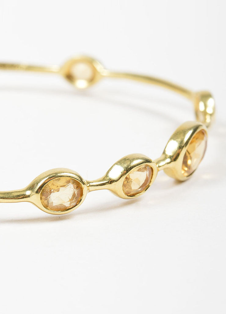 "18K Yellow Gold and Citrine 9 Stone Ippolita ""Rock Candy"" Bangle Bracelet Detail"
