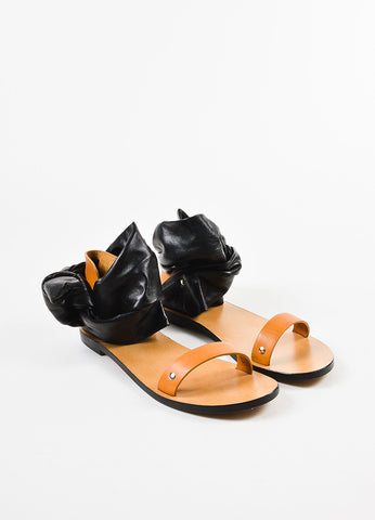 "IRO Black and Tan Leather Wrap Ankle Strap ""Megg"" Sandals Frontview"