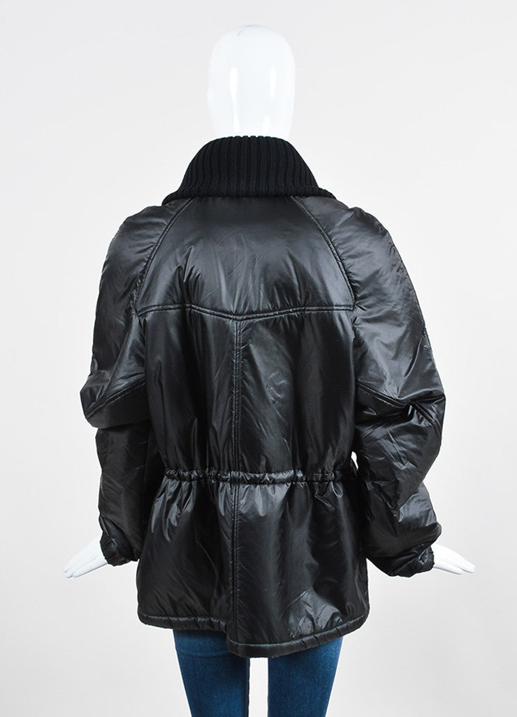"Black Isabel Marant Nylon Toggle ""Brewster"" Parka Coat Backview"