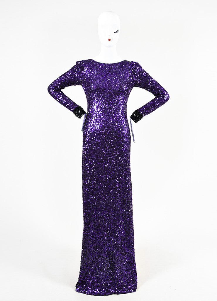 Jenny Packham Purple Sequin Embellished Cuff Long Sleeve Gown Frontview