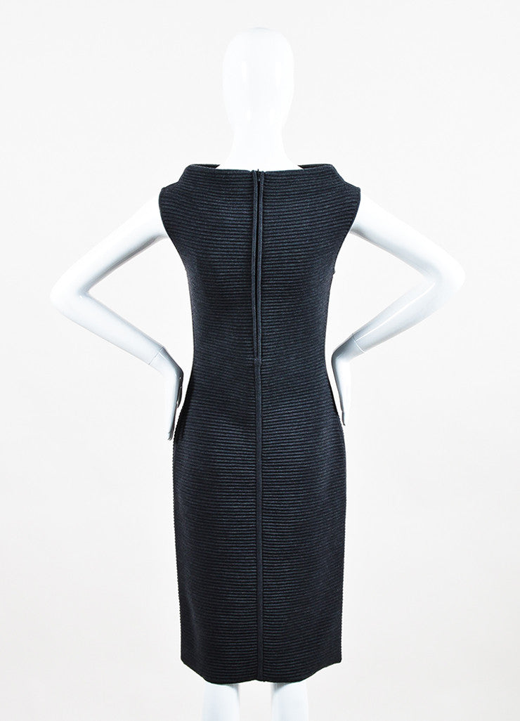 Jil Sander Dark Grey Wool Ribbed Knit Sleeveless Sweater Dress Backview