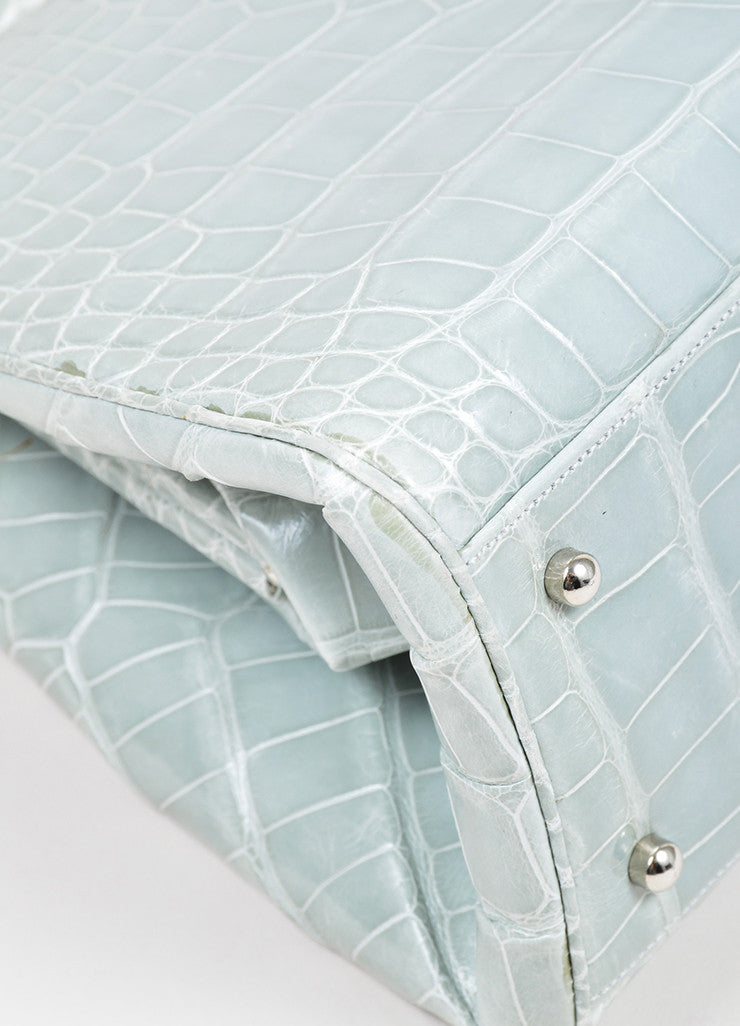 Mint Green Judith Leiber Alligator Leather Rhinestone Handle Evening Bag Detail