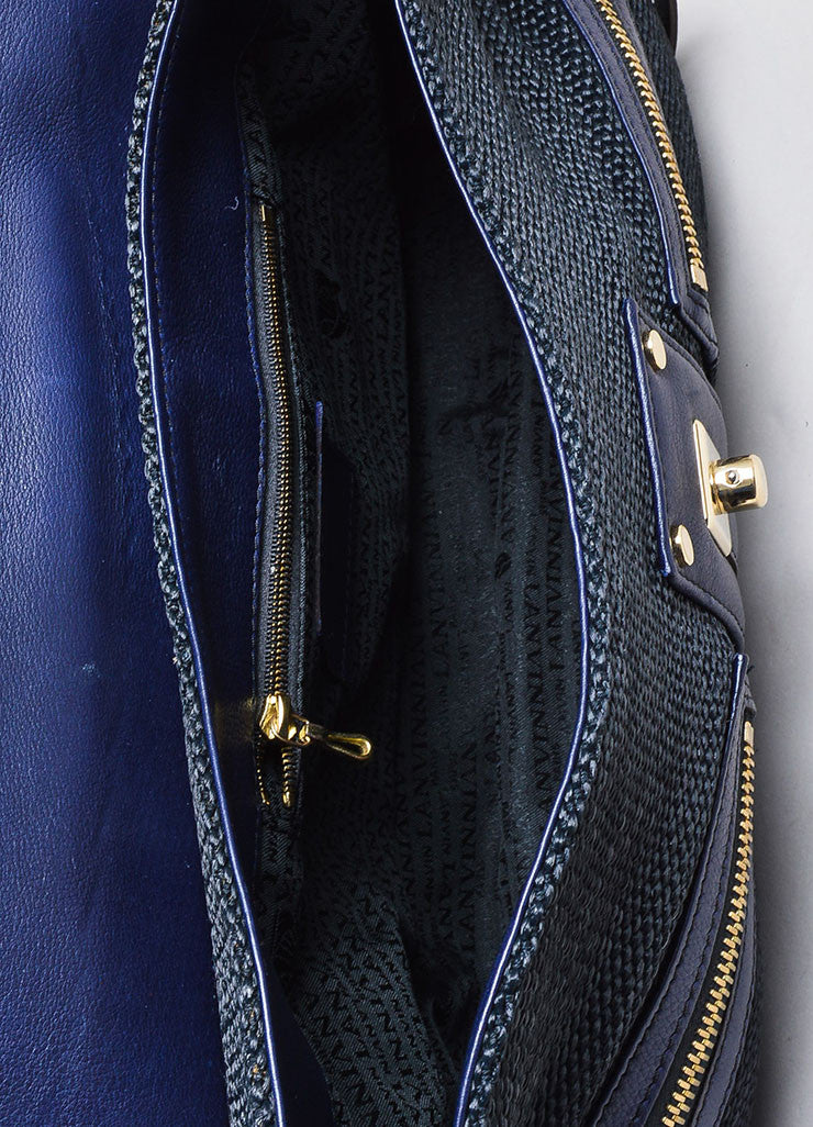 "Black and Navy Blue Lanvin Woven Leather ""Hero"" Chain Shoulder Bag Interior"