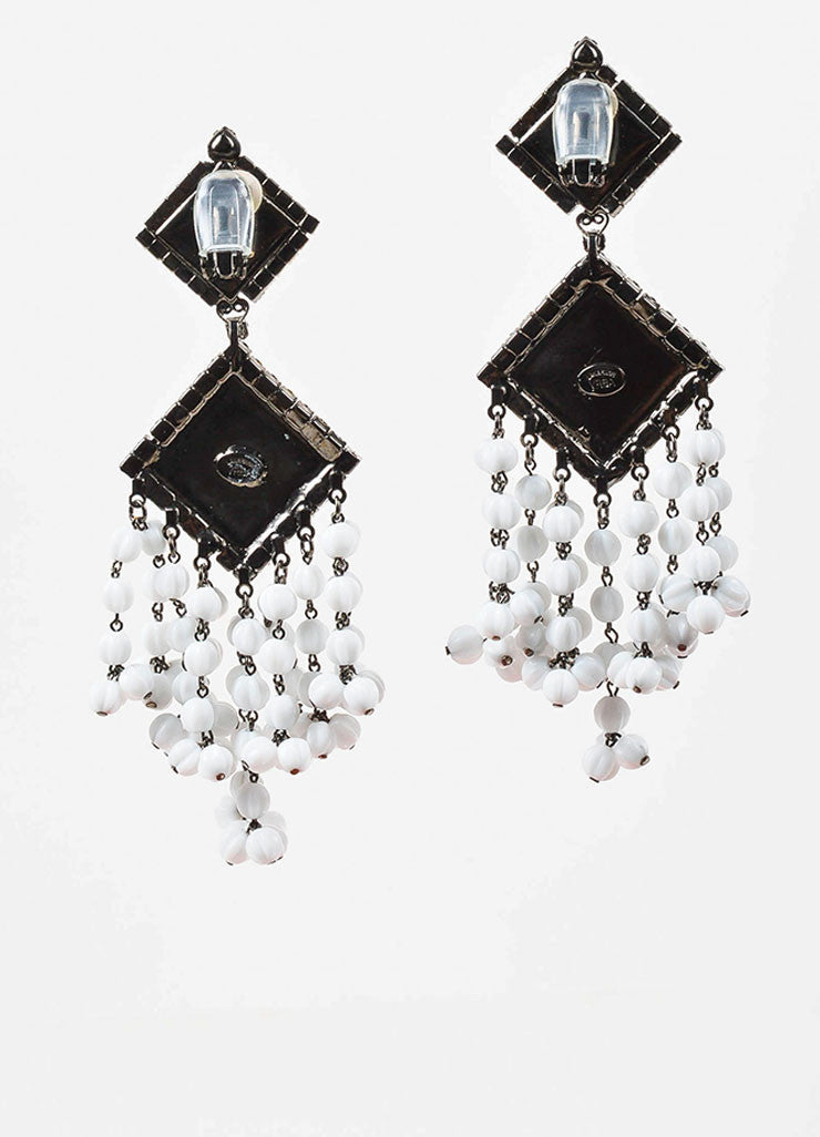 Lawrence Vrba Black and White Crystal Beaded Tassel Clip On Statement Earrings Backview