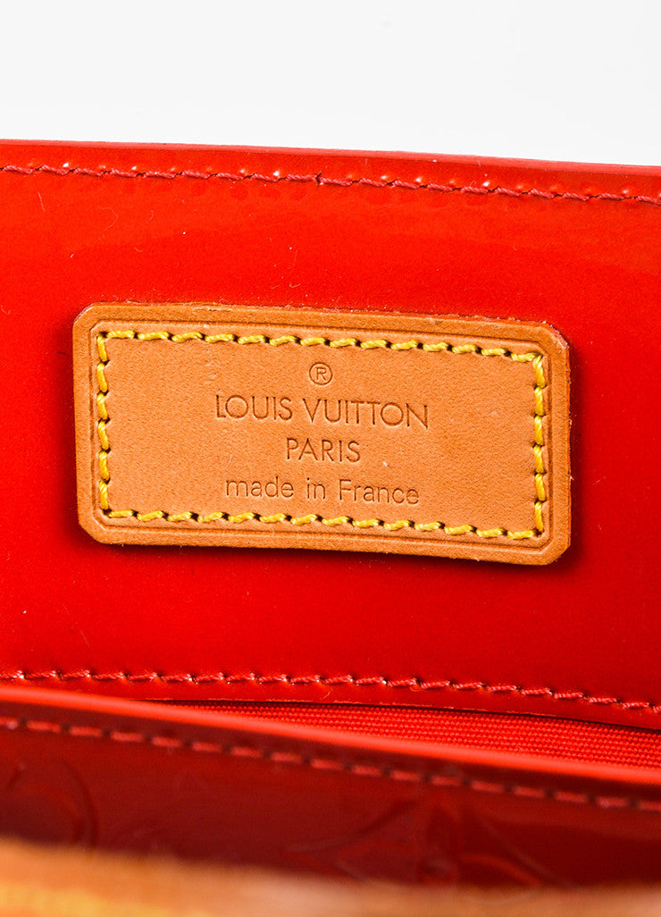 "Louis Vuitton Red Vachetta and Vernis Leather Monogrammed ""Reade MM"" Tote Bag Brand"