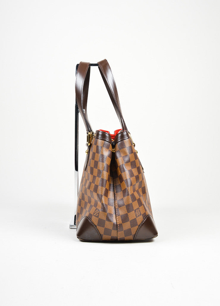 "Brown Louis Vuitton Damier Ebene Coated Canvas ""Hampstead MM"" Bag Sideview"