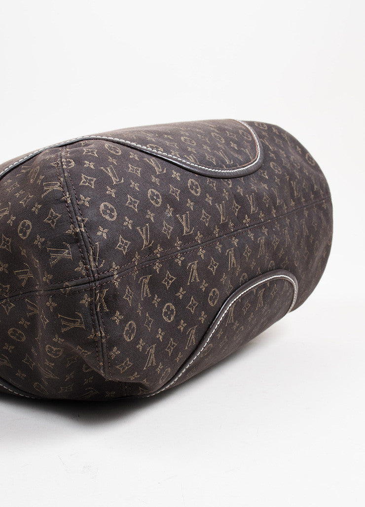 "Dark Brown and Tan Louis Vuitton Canvas Leather Monogram ""Idylle Elegie"" Tote Bag Bottom View"