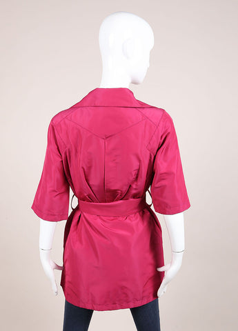 Louis Vuitton Magenta Silk Short Sleeve Belted Jacket Backview
