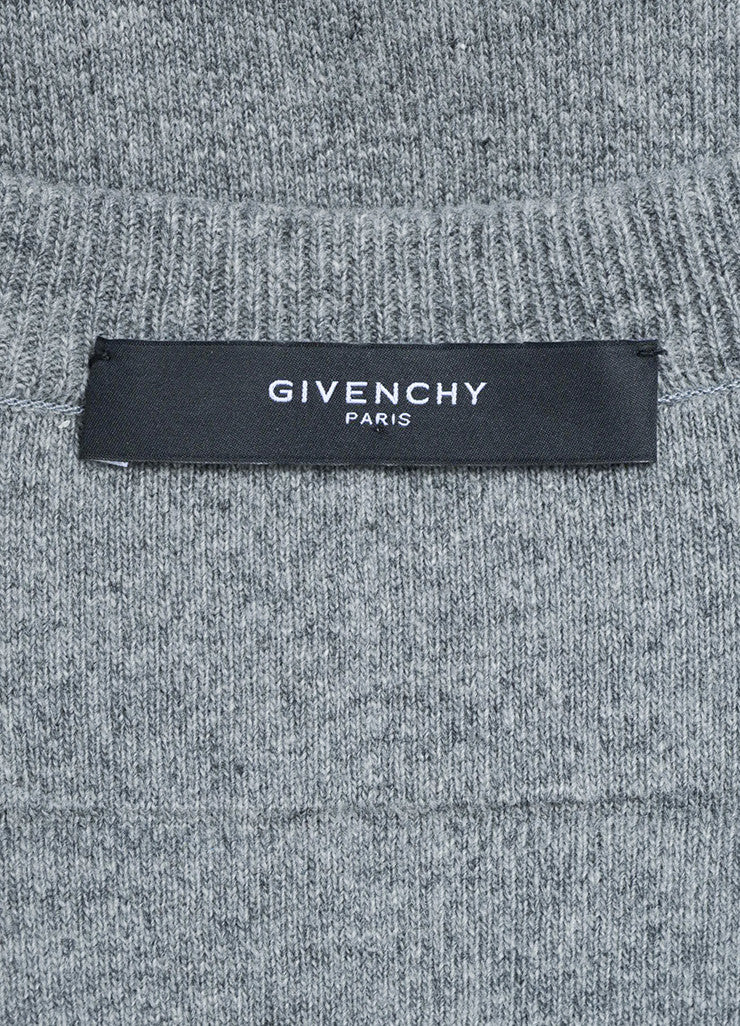 Men's Grey Givenchy Wool Cut Out Hem Crew Neck Pullover Top Brand