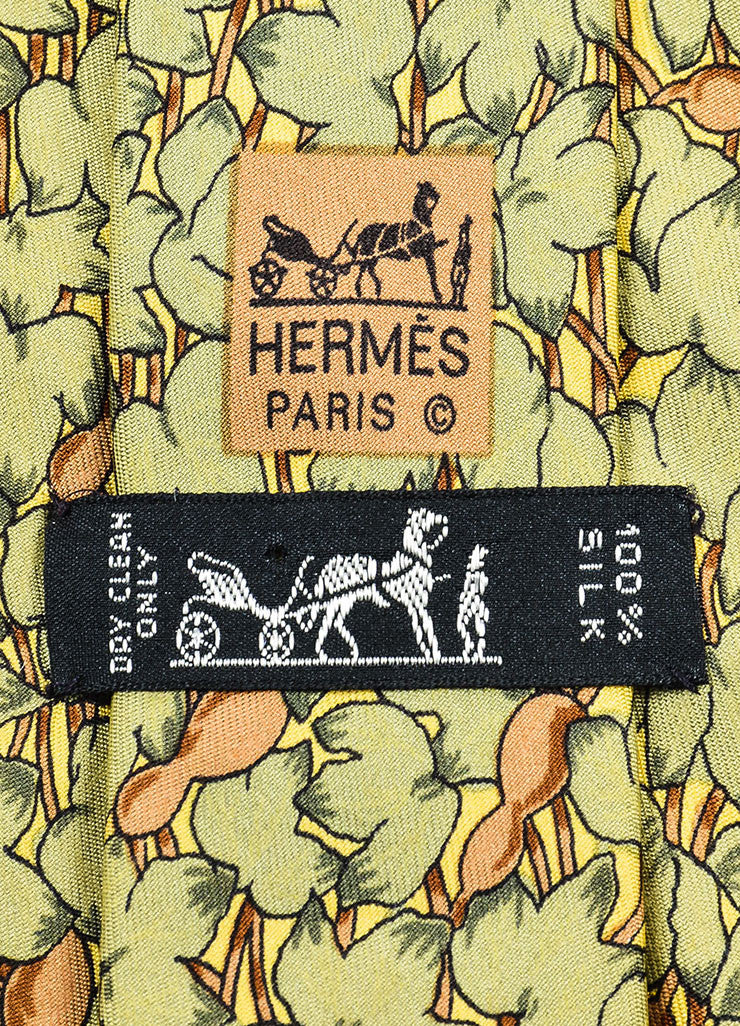 Men's Hermes Green, Brown, and Yellow Silk Leaf Printed Neck Tie Brand