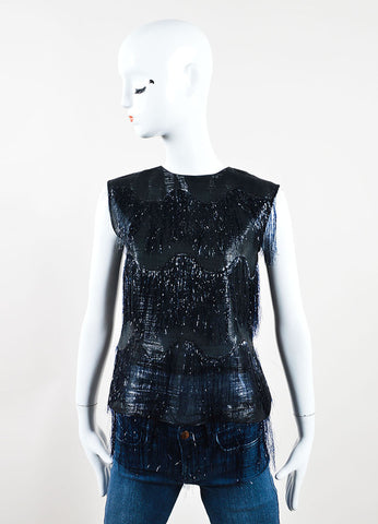 Maison Martin Margiela Black and Navy Metallic Fringe Sleeveless Top Frontview