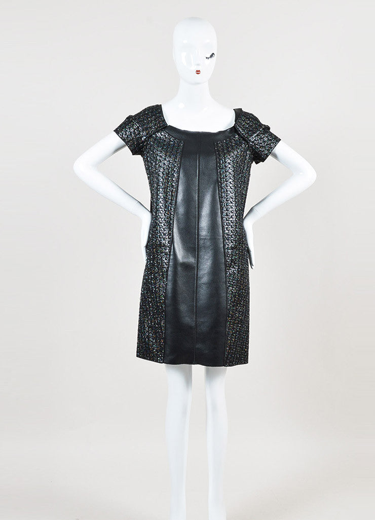 Marc Jacobs Black Iridescent Faux Leather Panel Short Sleeve Dress Frontview