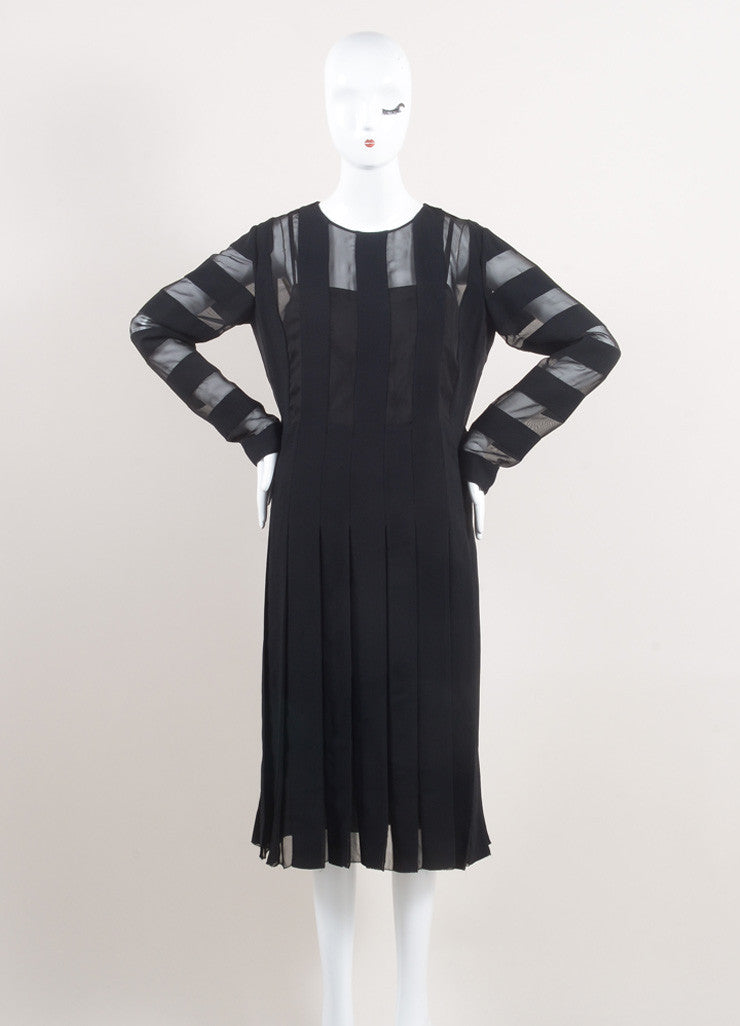 Marc Jacobs New With Tags Black Semi-Sheer Striped and Pleated Crepe Long Sleeve Dress Frontview