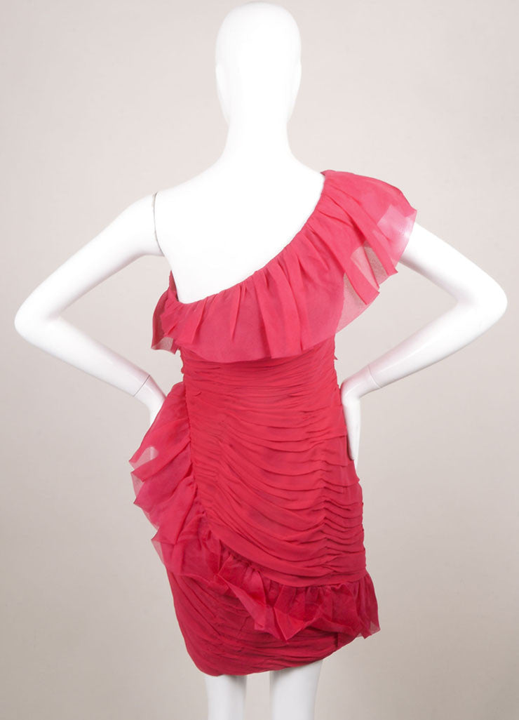 Marchesa Notte Pink Silk Ruffle Ruched One Shoulder Cocktail Dress Backview