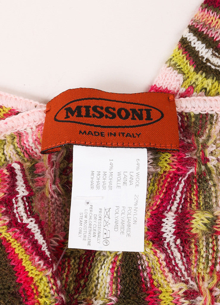 Missoni Pink and Green Wool and Mohair Knit Scarf Brand