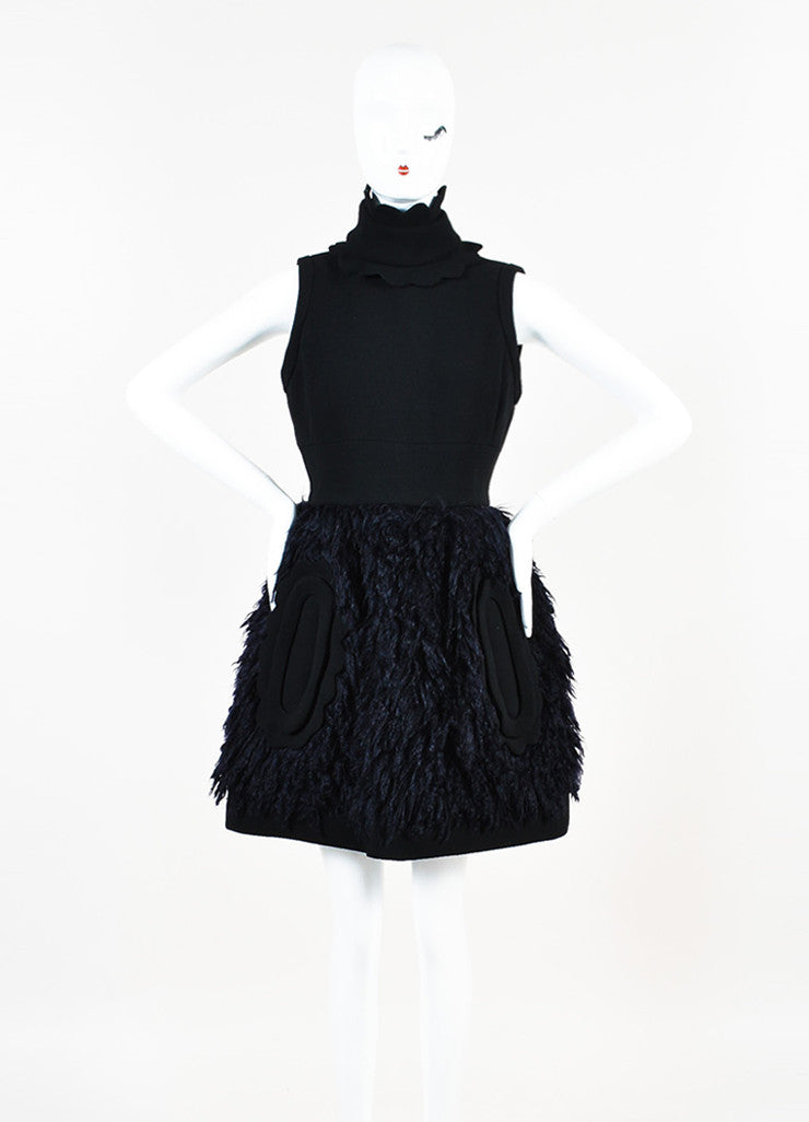 Black and Navy Blue Miu Miu Wool and Mohair Detachable Collar Sleeveless Dress frontview