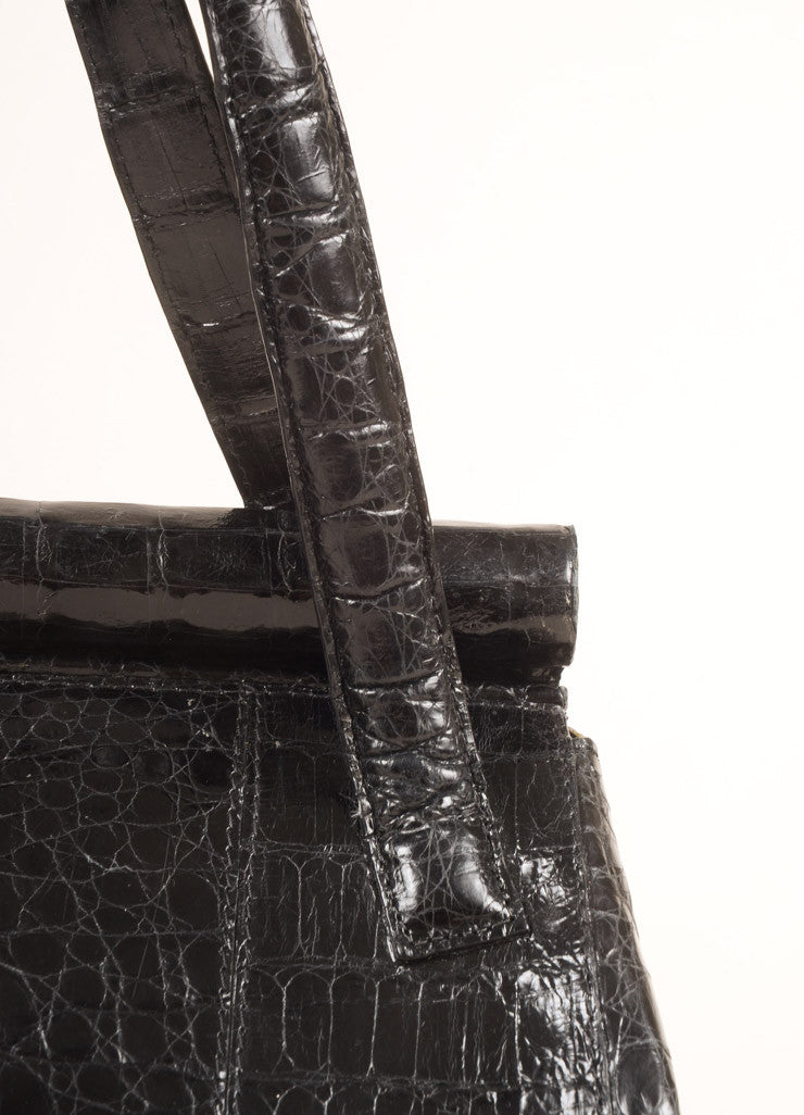 Nancy Gonzalez Black Crocodile Patent Leather Frame Shoulder Bag Detail 2