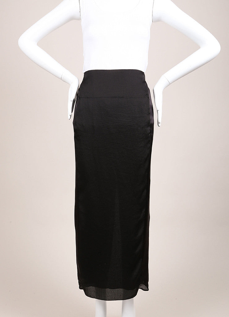 Nina Ricci New With Tags Black Silk Slit Maxi Skirt Frontview