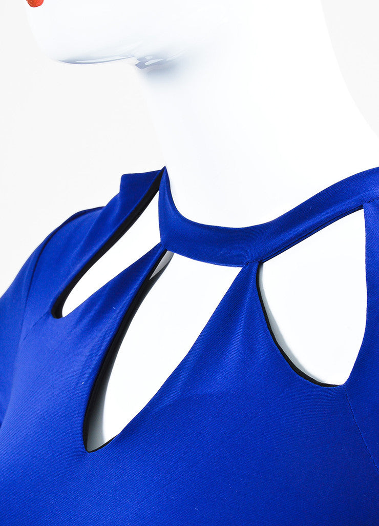 Norma Kamali x Everlast Royal Blue Long Sleeve Cutout Shoulder Dress Detail