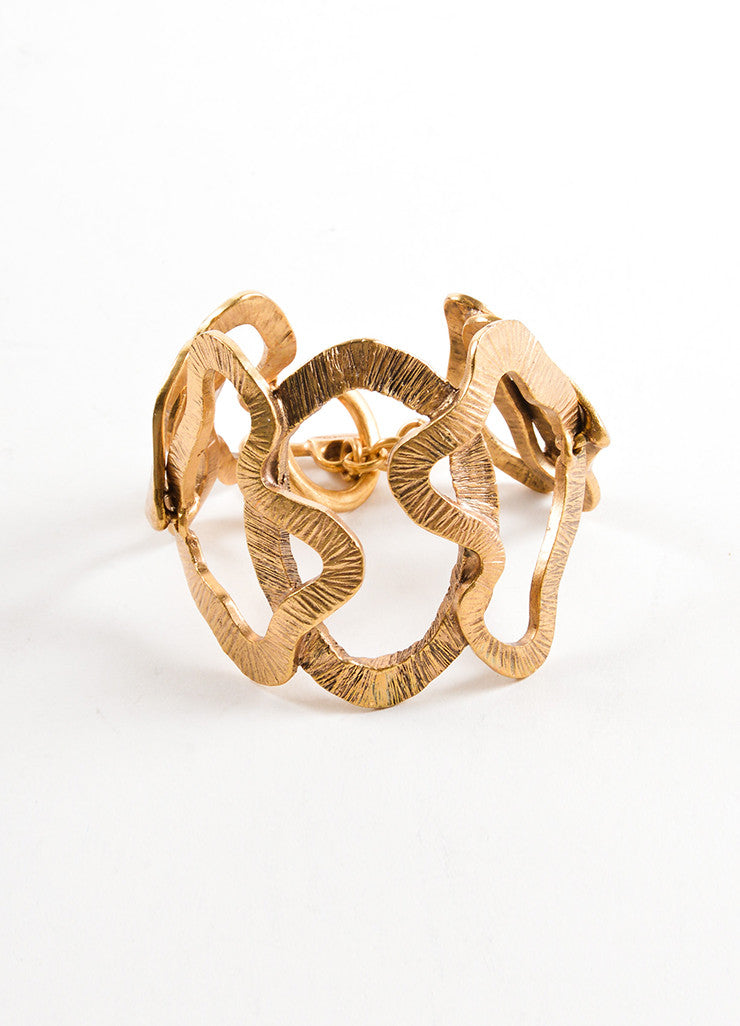 Oscar de la Renta Gold Toned Wavy Cut Out Link Oversized Bracelet Frontview