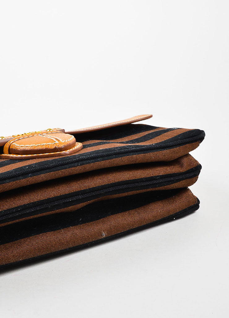 "Prada Tan, Brown, and Black Canvas Leather Striped ""Canapa Righe"" Clutch Bag Bottom View"