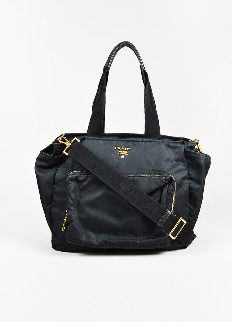 "Prada Black and Gold Toned Tessuto Nylon Zip Diaper ""Baby Bag"" Tote Bag Frontview"