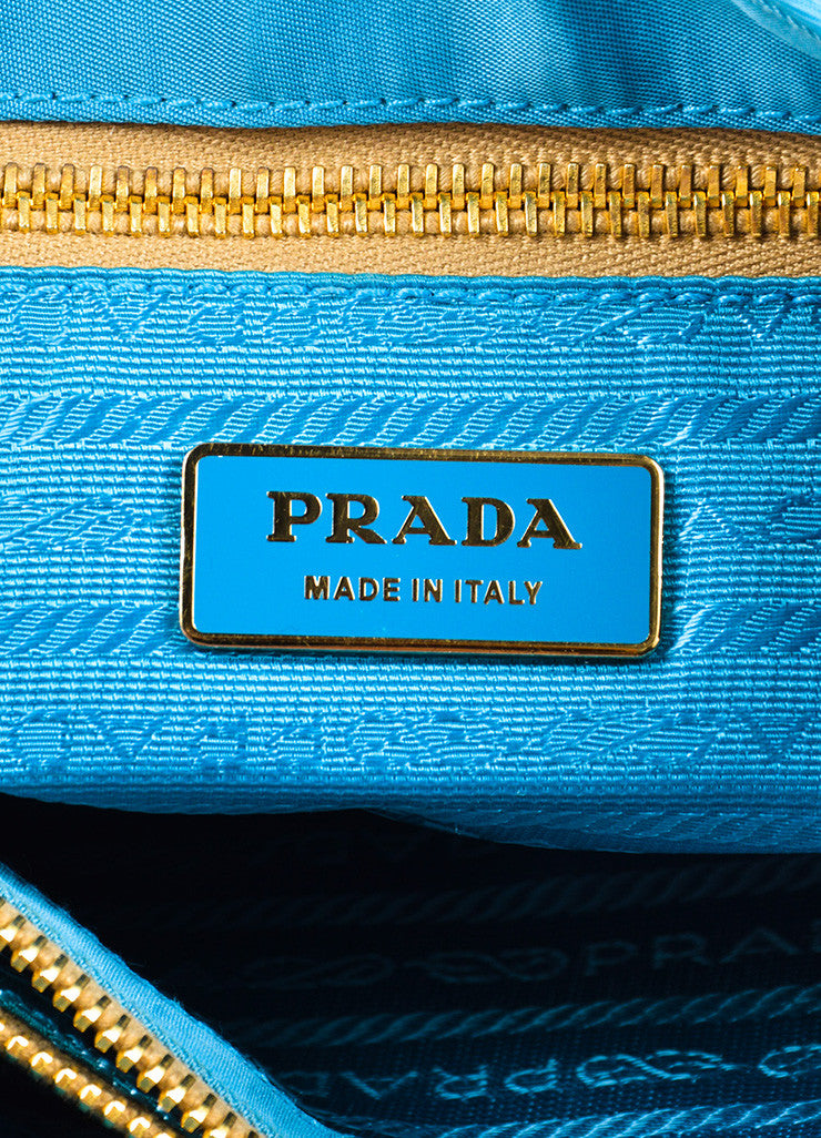 Prada Teal Blue Tan Nylon Leather Trim Tassel Top Handle Tote Bag Brand