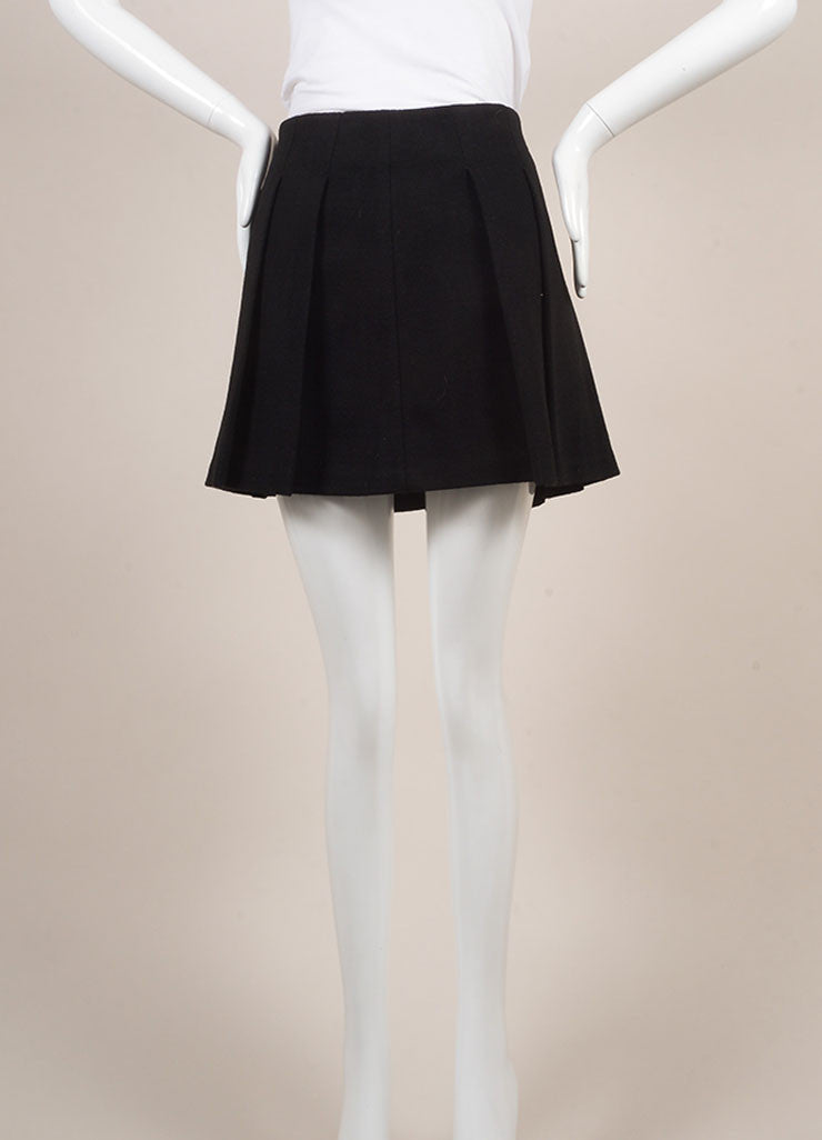 Proenza Schouler Black Wool Blend Leather Trim Pleated Mini Skater Skirt Frontview