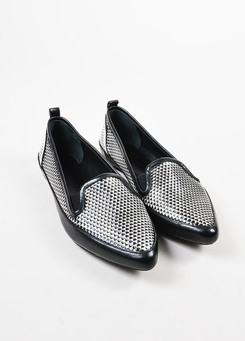 Black and White Proenza Schouler Leather Printed Pointed Toe Flats Front