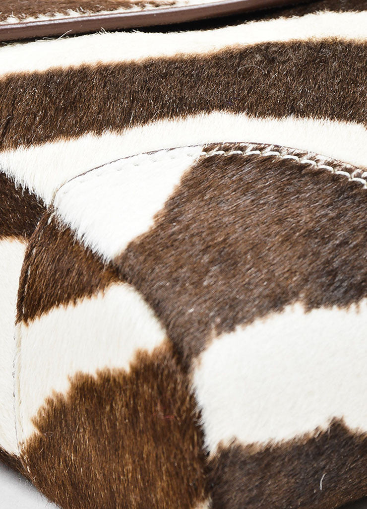 Cream and Brown Ralph Lauren Pony Hair Zebra Print Flap Clutch Bag Detail
