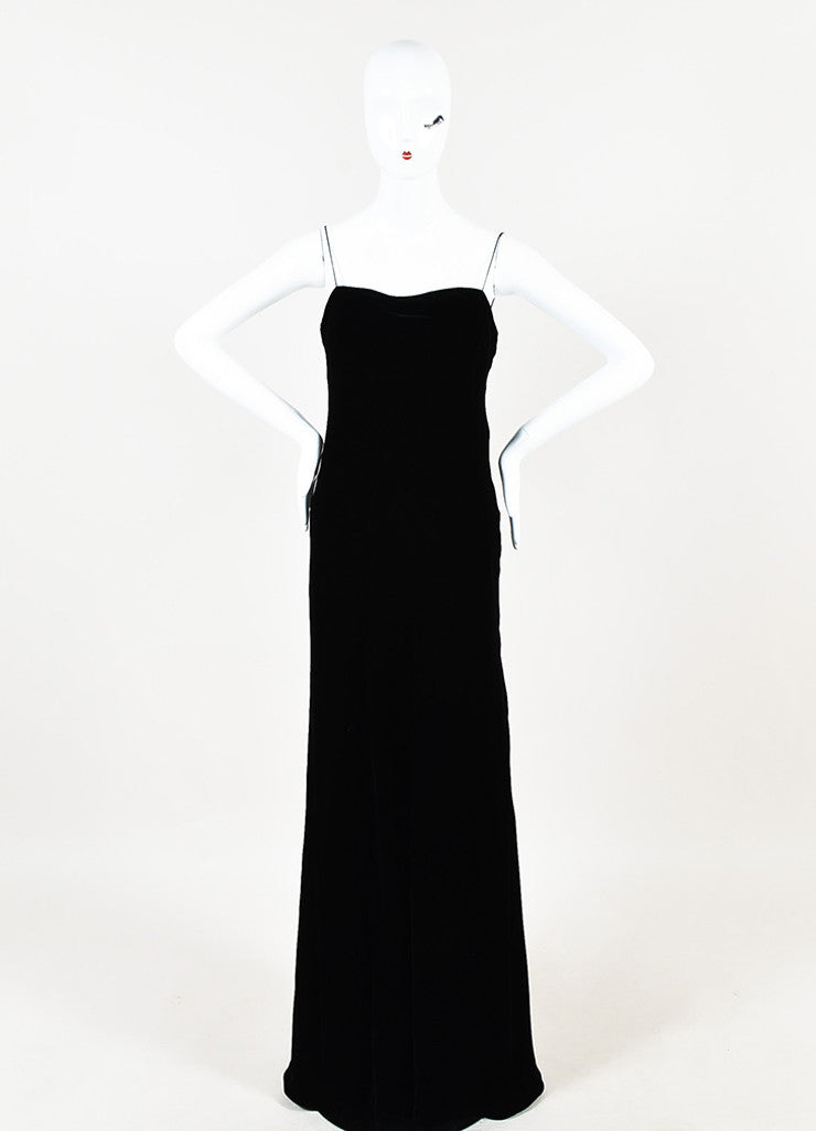 Ralph Lauren Collection Black Velvet Spaghetti Strap Full Length Gown Frontview