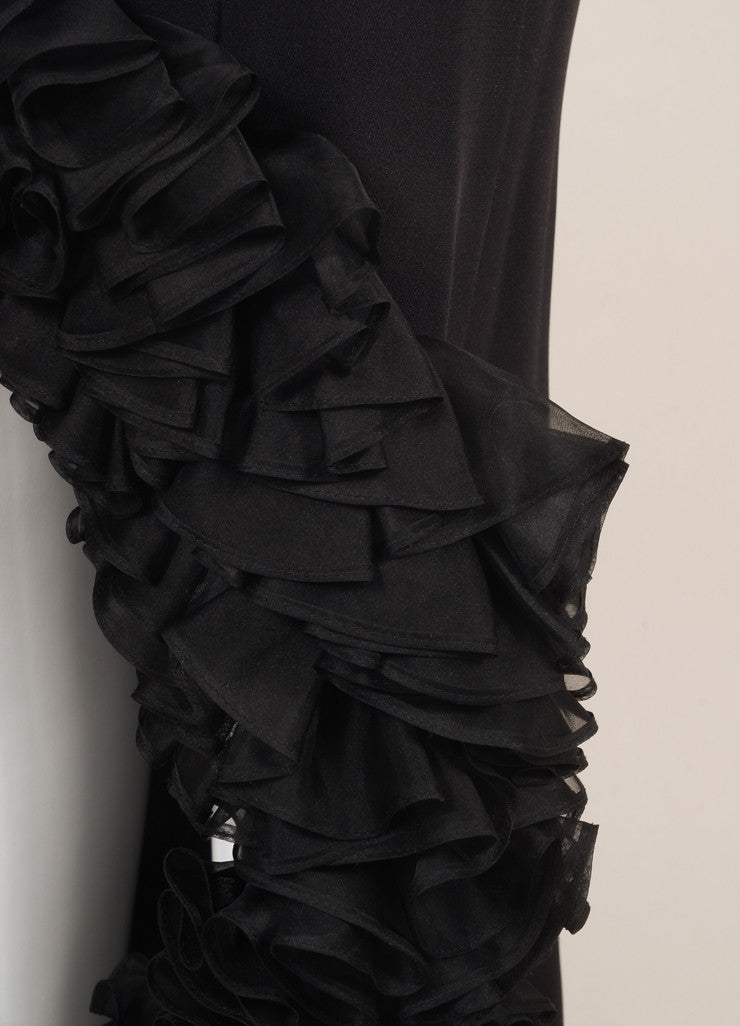 Roland Nivelais Black Silk Ruffle Hi Low Hem Strapless Gown Detail