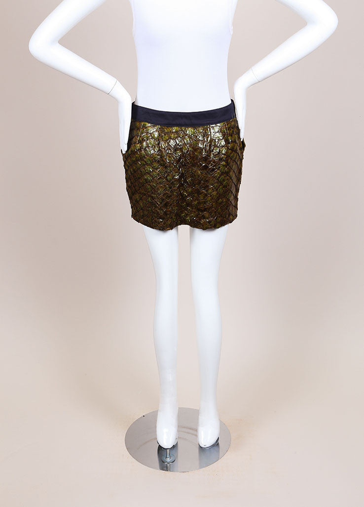 Roseanna New With Tags Green and Navy Fish Scale and Cotton Paneled Mini Skirt Frontview