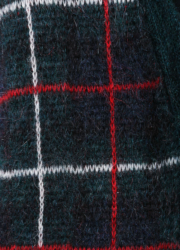 "Saint Laurent Green, Red, and White Mohair Blend ""Tartan"" Cardigan Detail"