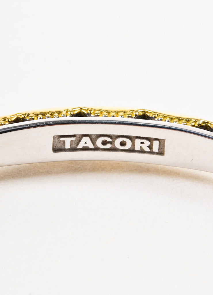 "Tacori Sterling Silver and 18K Gold ""Promise"" Lock and Key Bangle Bracelet Brand"