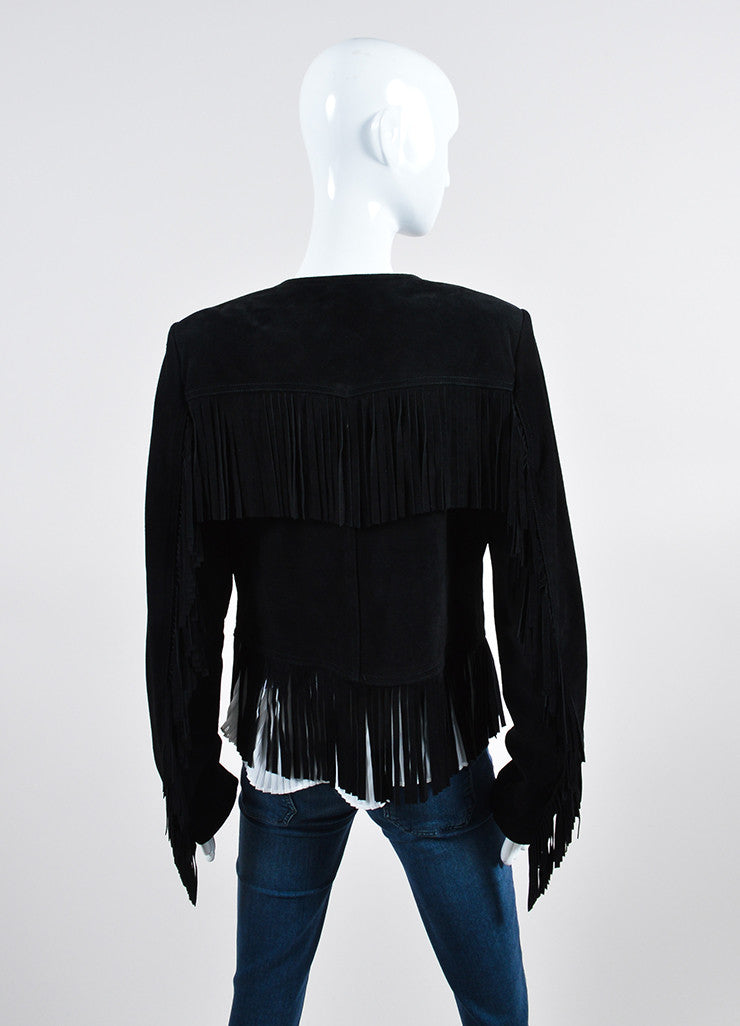 "The Perfext Black Suede ""Wendy"" Fringe Zip Jacket Backview"
