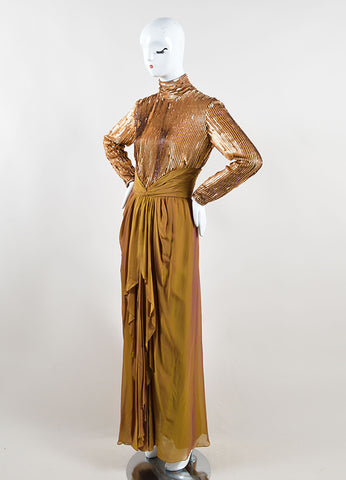 Bob Mackie Gold Sequin Long Sleeve Ruched Gown Sideview