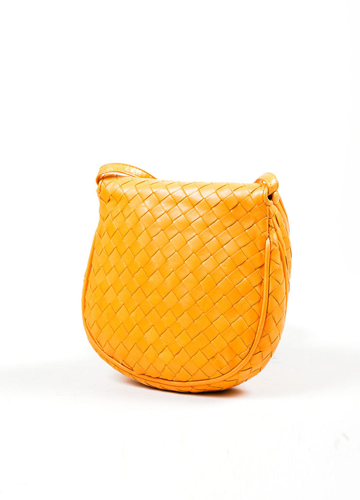 Orange Bottega Veneta Leather Woven Tassel Cross Body Bag Backview
